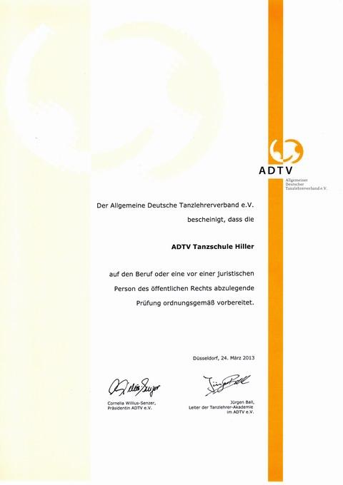 Unser ADTV - Zertifikat